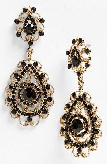 gold black earrings ornate teardrop earrings earrings drop earrings