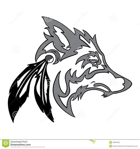 tribal wolf head stock vector image 48058422