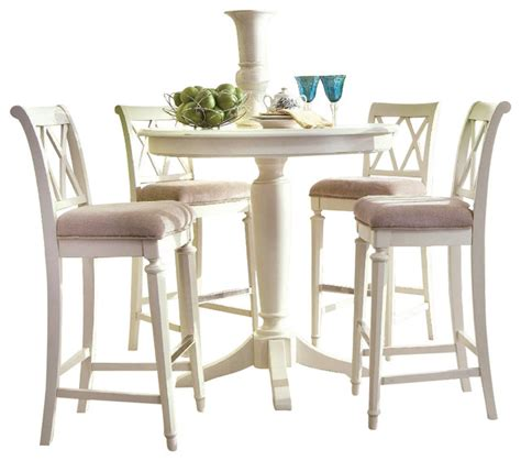 pub dining room set american drew camden light 5 bar height ped dining room set in white paint traditional