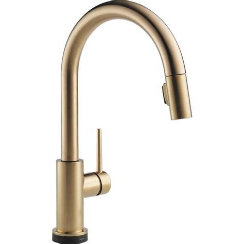 delta bronze kitchen faucet shop delta trinsic touch2o chagne bronze 1 handle deck mount pull touch kitchen faucet