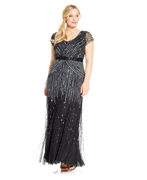 cap sleeve beaded sequined gown papell plus size cap sleeve beaded sequined gown