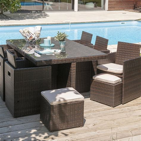 salon de jardin encastrable r 233 sine tress 233 e chocolat 1 table 6 fauteuils 2 po leroy merlin
