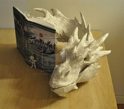 book paper crafts papercraft smaug made from the hobbit book technabob