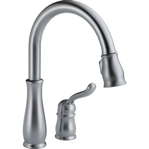 delta single kitchen faucet delta leland single handle pull sprayer kitchen faucet in arctic stainless featuring
