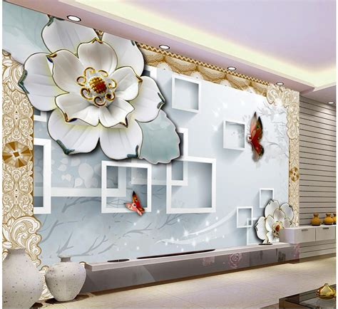 wallpaper design home decoration 3d block tv backdrop embossed flowers papel parede mural