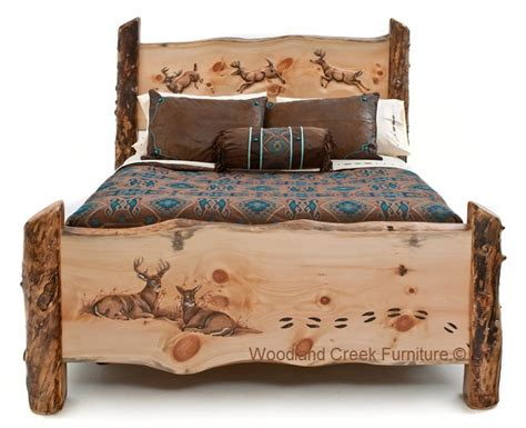 carved log bed cabin furniture lodge bedroom rustic