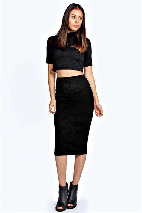 knitted bodycon skirt black midi skirt boohoo aliyah knitted midi bodycon skirt