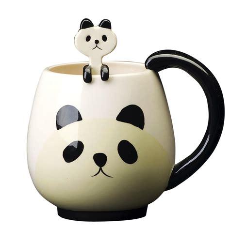 Home Interiors Wall Decor animal ceramic mug panda with spoon