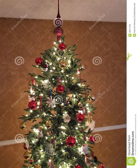 silver tree with lights tree with lights and ornaments stock photo