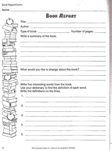 picture book report book report worksheet