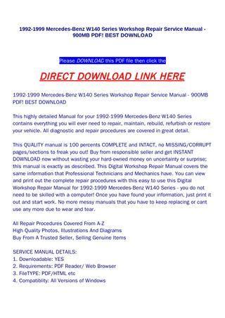 download car manuals pdf free 1999 mercedes benz sl class user handbook 1992 1999 mercedes benz w140 series workshop repair service manual 900mb pdf best download by