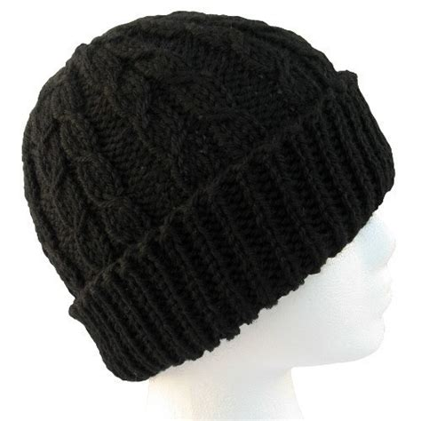black knit hat the hat dueling cables black wool knit hat