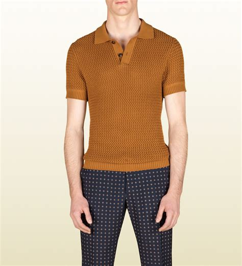 mens knit shirts gucci knit polo shirt in yellow for lyst