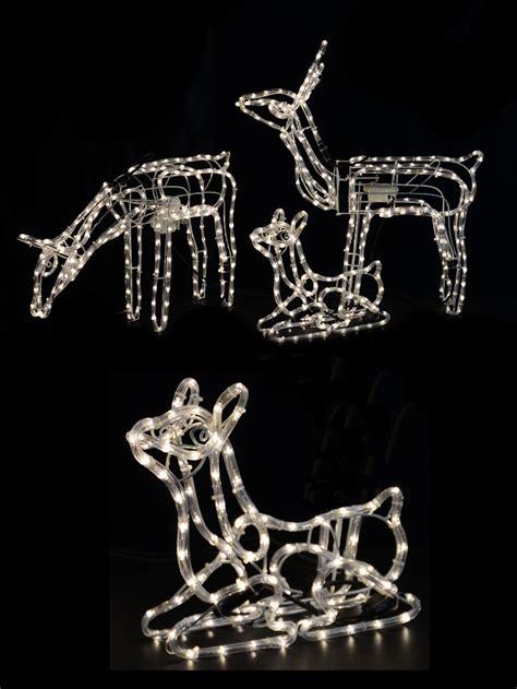white led 3d reindeer family rope light lights