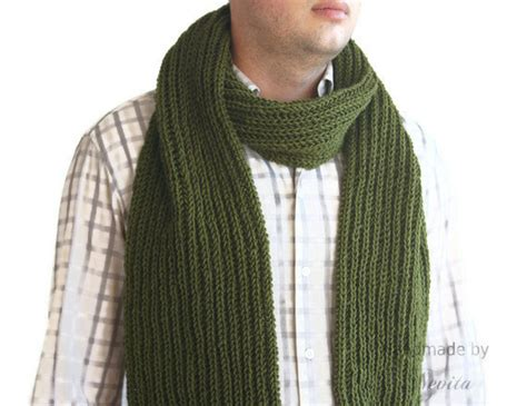 mens knit scarf green wool mens scarf mens green knit scarf scarf for him