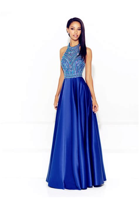royal blue beaded dress a line halter low back royal blue satin beaded prom dress