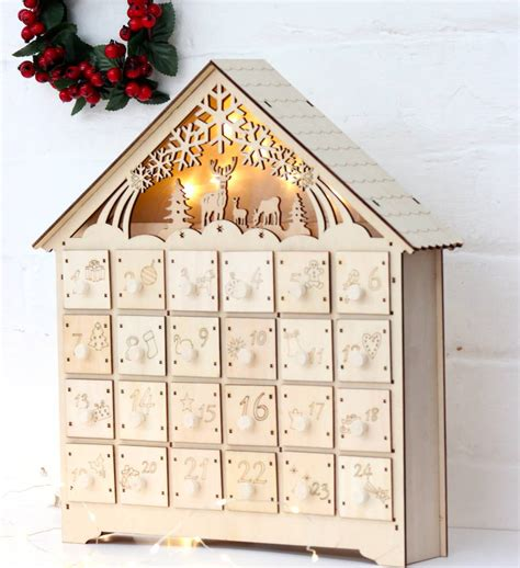 woodworking calendar wooden led lit advent calendar by the forest co
