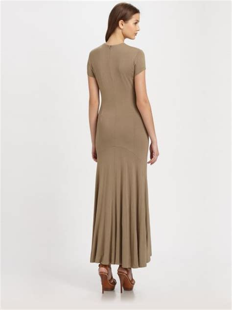 maxi dresses jersey knit ralph blue label jersey knit maxi dress in brown