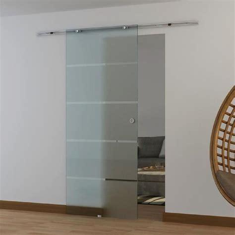 porte coulissante en verre tremp 233 d 233 poli avec dessin striure rail en alliage d alluminium 78l x