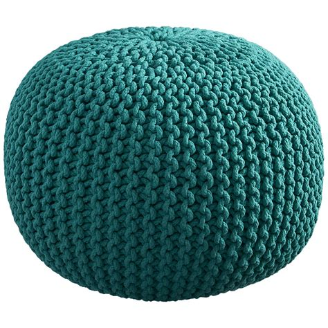 turquoise knitted pouf knitted teal pouf everything turquoise
