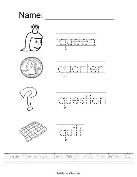 q scrabble words no u trace the words that begin with the letter q worksheet