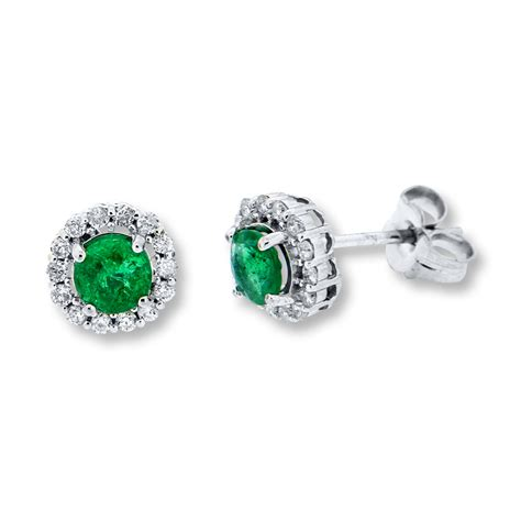 emerald jewellery jared emerald earrings 1 4 ct tw diamonds 10k