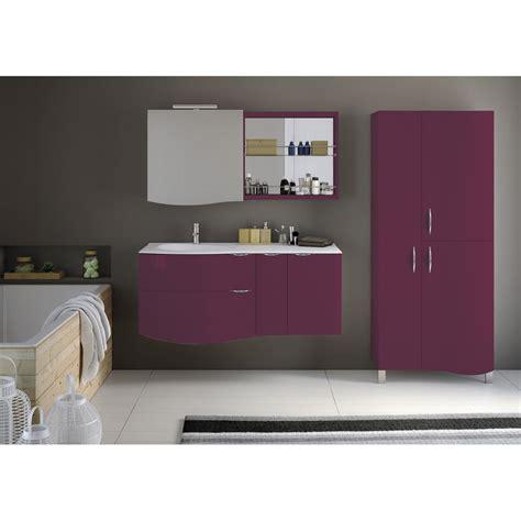 meuble de salle de bains elegance violet amarante 100 cm leroy merlin