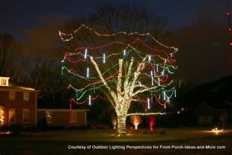 tree wrapped in lights outdoor light ideas to make the season sparkle