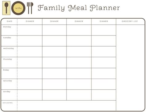 monthly meal planner free printable meal planning