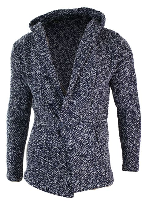 mens grey knitted cardigan mens slim fit hooded longline knitted 1 button cardigan