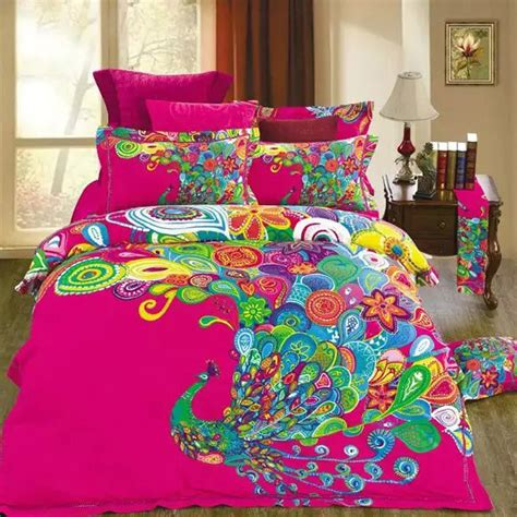 Gorgeous Cool Comforter Sets Home And Textiles Unique Design Colorful Peacock Print Bedding Set Size 100 Cotton Fabric Home Textiles