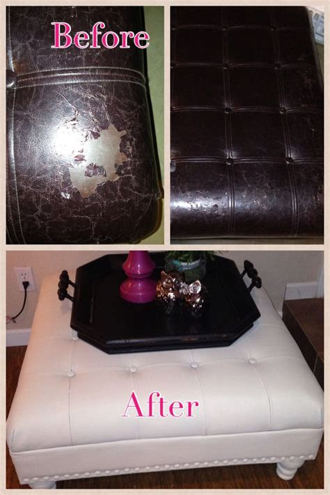 diy chalk paint troubleshooting before and after outdated peeling leather ottoman sanded