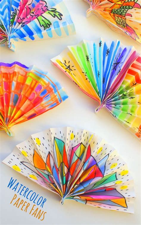 paper craft fan watercolor painted paper fans watercolour new year s