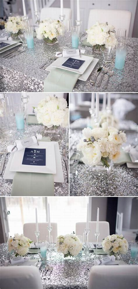 silver table decorations for winter wedding colors blue shades silver