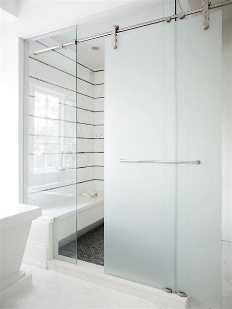 shower door frosting frosted glass sliding barn shower door design ideas