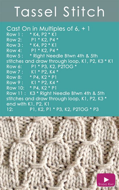how to stitches when knitting how to knit the tassel stitch pattern studio knit