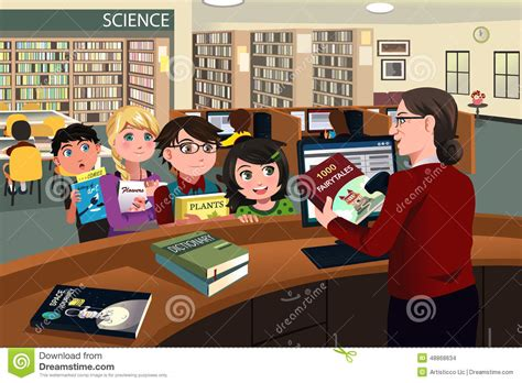 taking pictures of books checking out books in the library stock vector