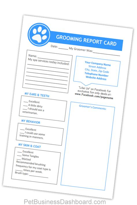 make your own report card grooming business templates