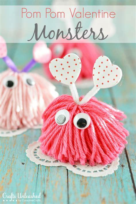 valentines craft craft pom pom monsters tutorial