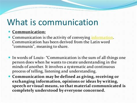 what is what is communication