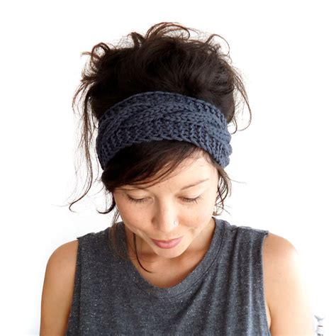how to knit a headband cable knit headband in charcoal grey 100 merino wool