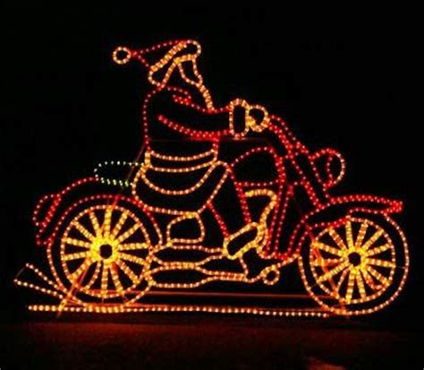 moving outdoor decorations animated santa on motorcycle light outdoor