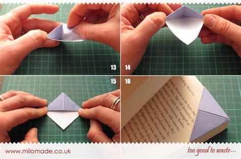 how to make an origami bookmark recycled origami bookmarks milomade
