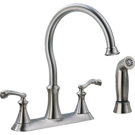 delta kitchen faucets home depot delta vessona 2 handle standard kitchen faucet with side sprayer in stainless 21925lf ss the