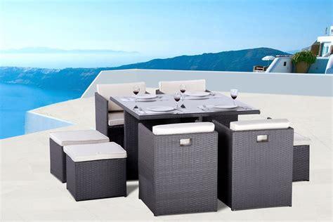 table et fauteuils de jardin encastrablee 8 places en r 233 sine tress 233 e gris pas cher luco