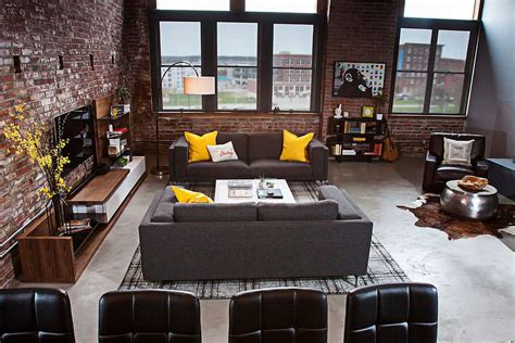 loft style living room dashing loft uses contrasting textures to create