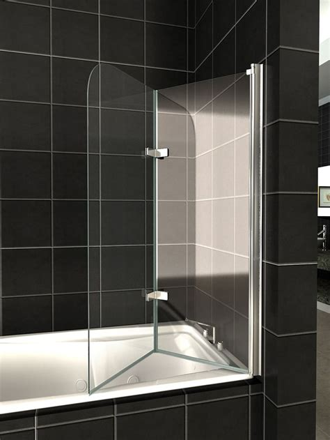 glass shower bath screen details about 180 176 pivot glass bath 2 fold folding