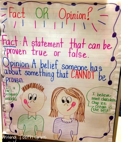 fact and opinion picture books fact vs opinion anchor chart writing