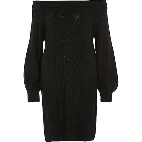 river island knitted dress black bardot cable knit dress dresses sale