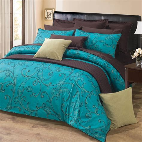 turquoise brown comforter sets 3pc turquoise brown paisley design 300tc cotton duvet